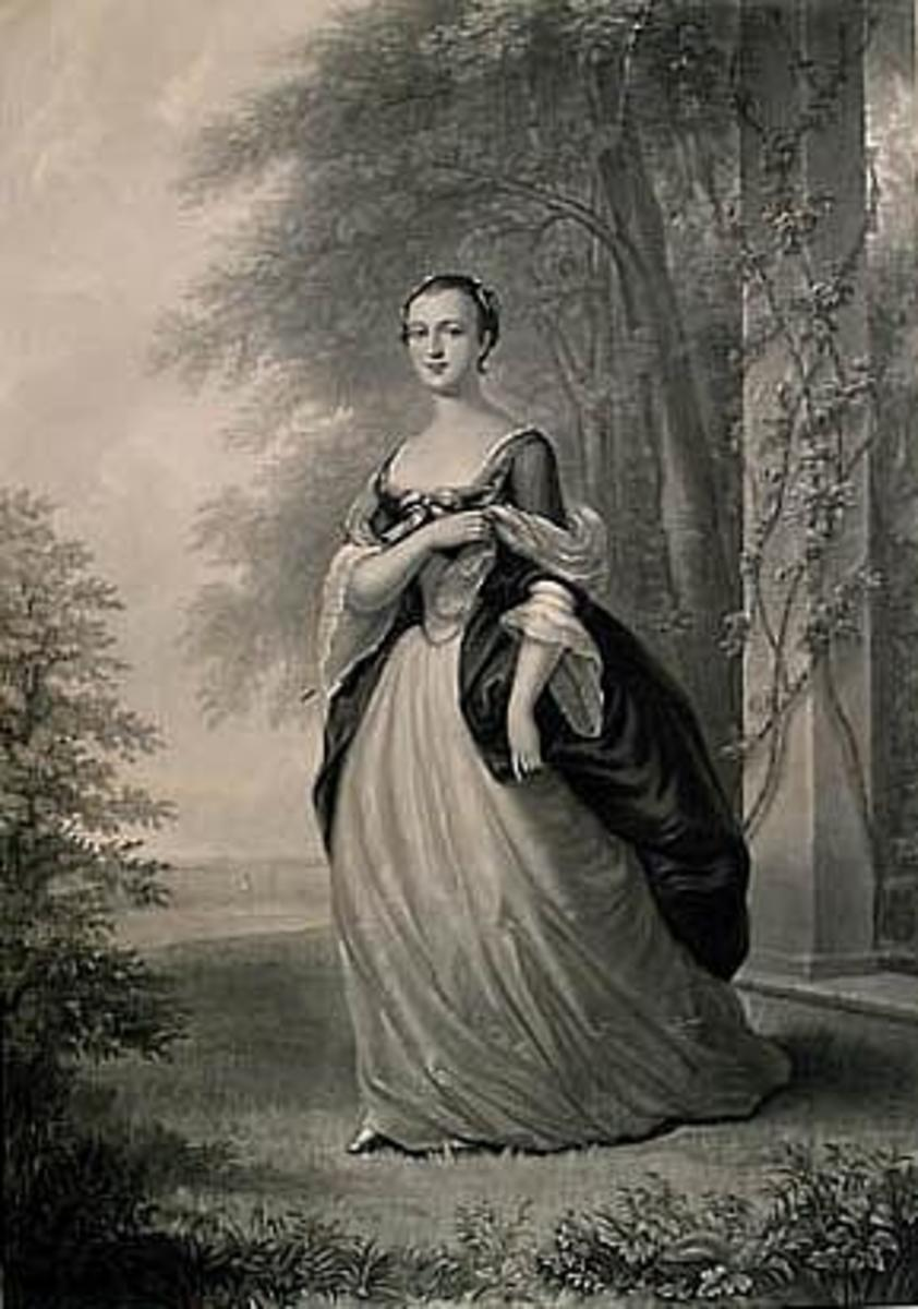 Mezzotint of Martha Washington by John Folwell, drawn by W. Oliver Stone after the original by John Wollaston, painted in 1757