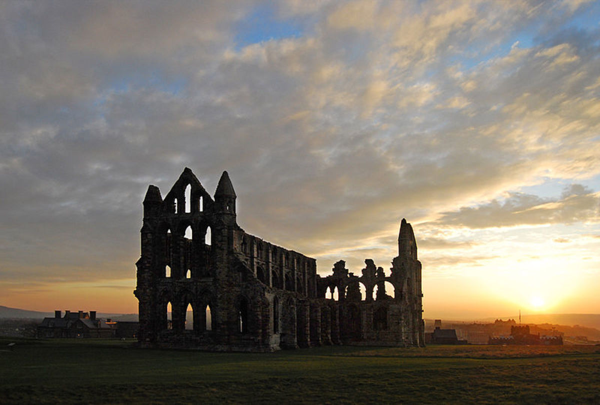 Sunset at Whitby Abbey in north Yorkshire, England.