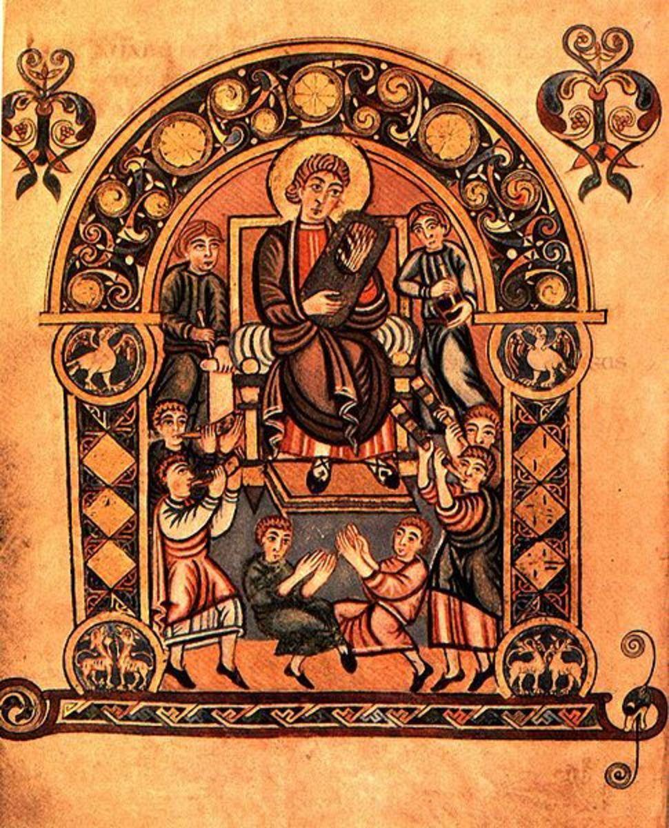 Musician from The Vespasian Psalter, circa 825.