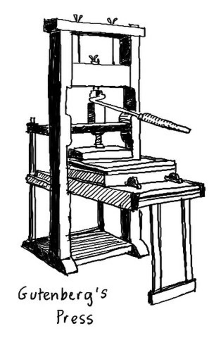 A drawing of Gutenberg's finished printing press.