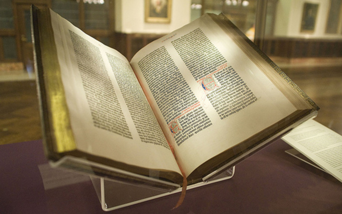 A surviving copy of The Gutenberg Bible from 1455.