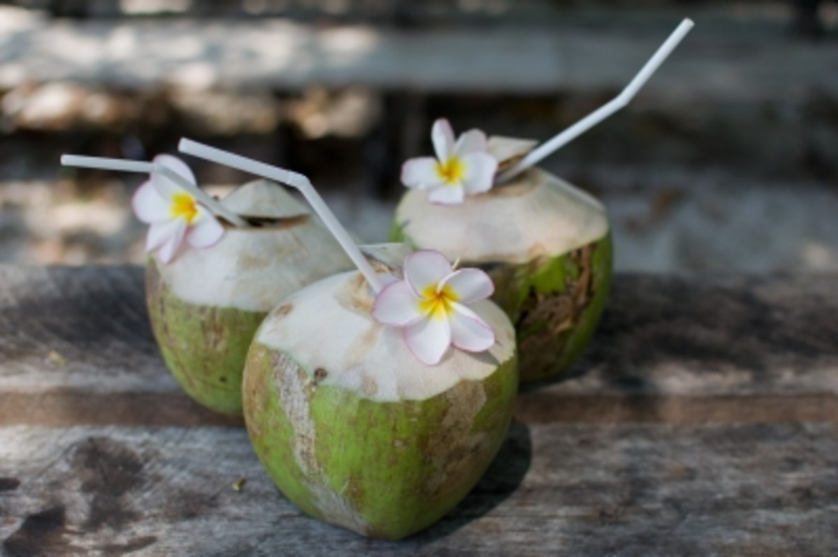 coconut  milk is added to cocktails in the tropics and a key ingredient in Pina Colada.
