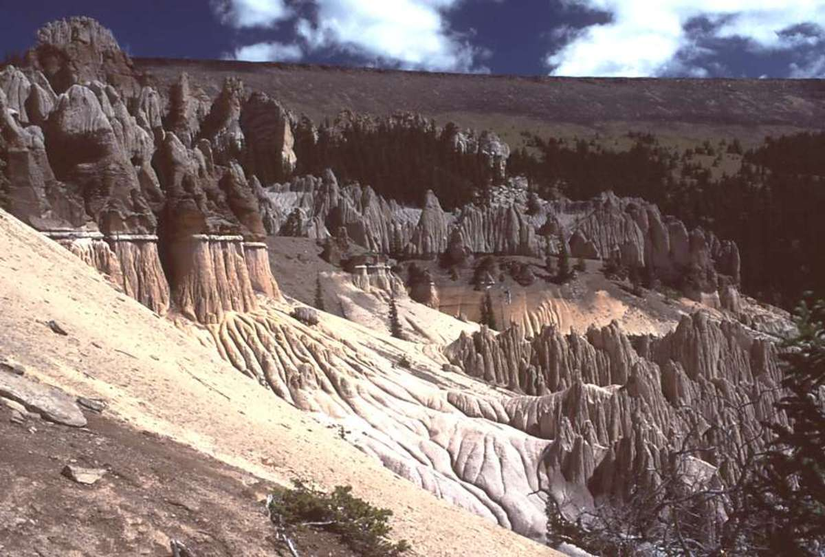 The Wheeler Geologic Area in Colorado has massive ash formations - the last explosion was 27 million years ago.