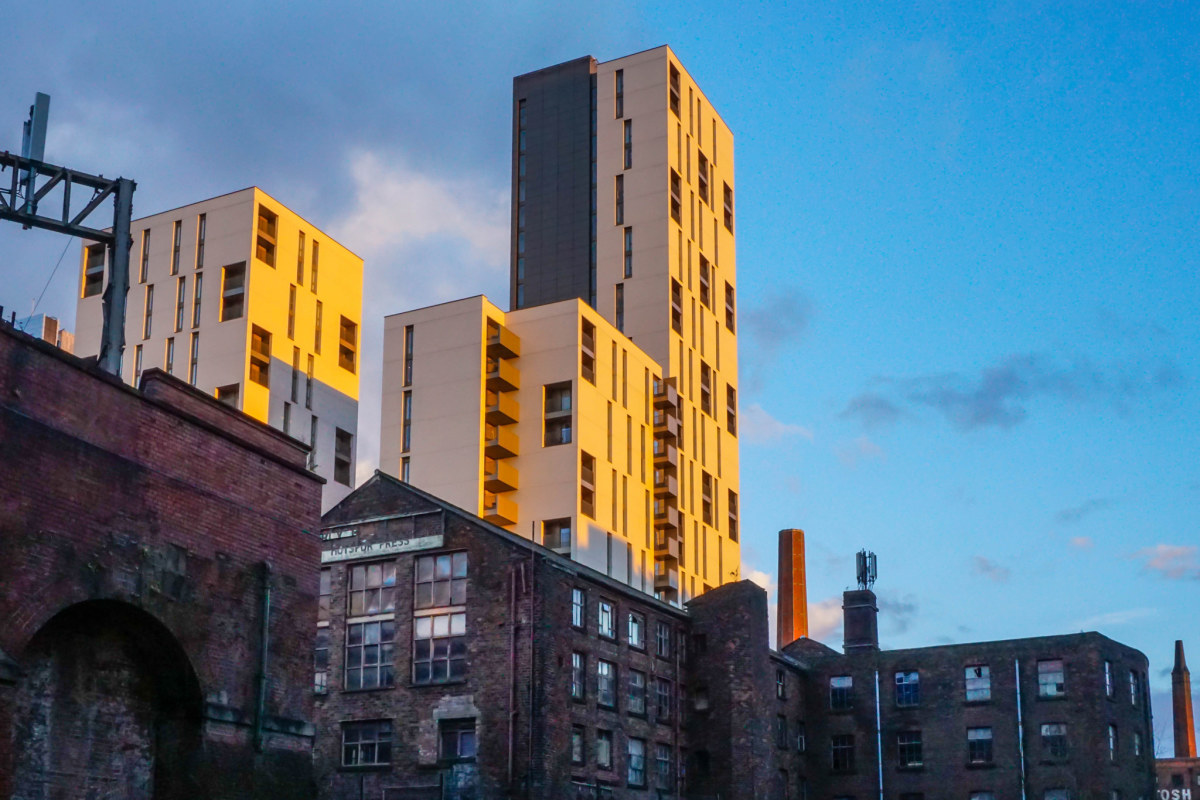 Classic juxtaposition between old and new architecture in Manchester