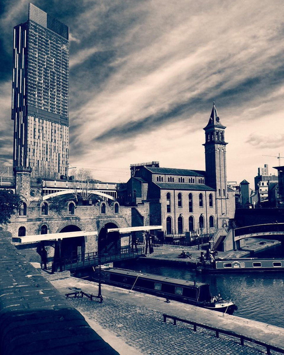The Beetham Tower with that classic juxtaposition between old and new.