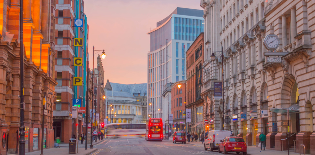 Oxford Street at Dusk. Manchester