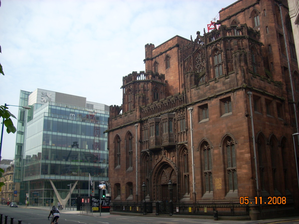Juxtaposed. John Rylands Library with adjacent modern office block