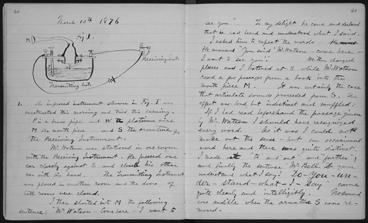 Alexander Graham Bell's lab book open at the page in which he made notes about the first successful use of the telephone.