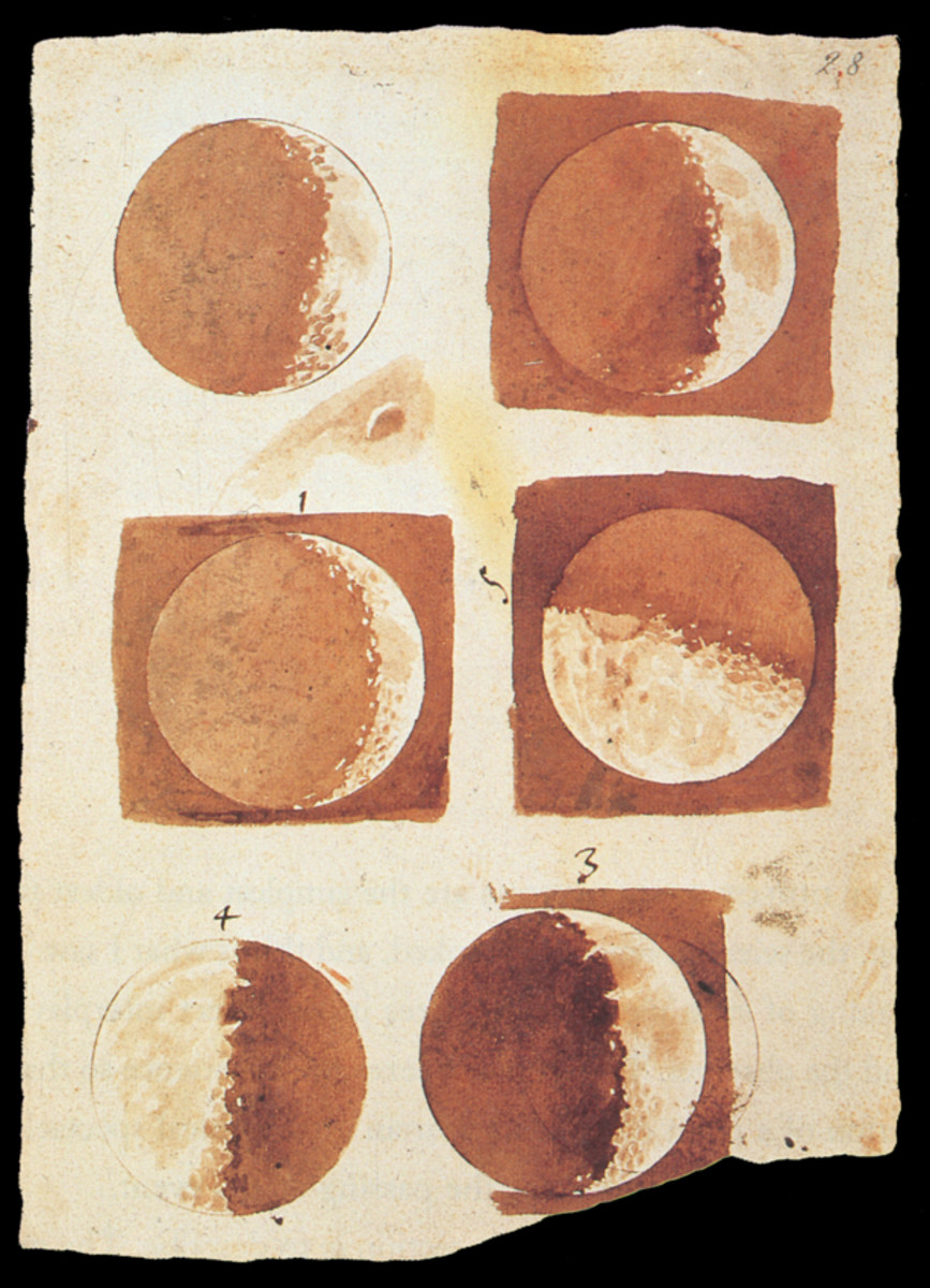 """Galileo had an intense interest in and talent for art, which he studied and taught. These are his """"Moon Phases"""" drawings (1616)."""