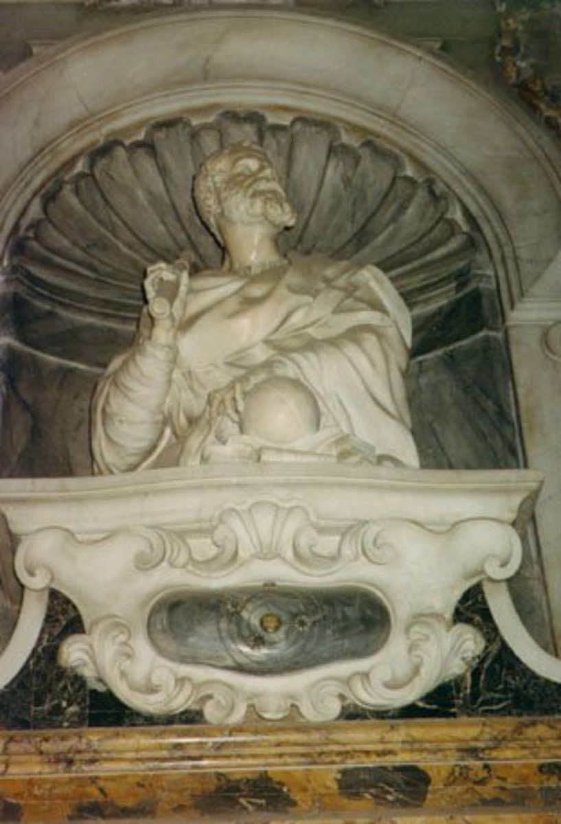 Monument to Galileo Galilei, inside Santa Croce church, in Florence, Italy. Photo by User:Infrogmation, 1993.