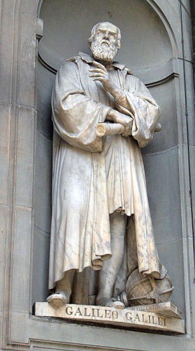 Statue of Galileo Galilei outside the Uffizi, Florence, Italy.