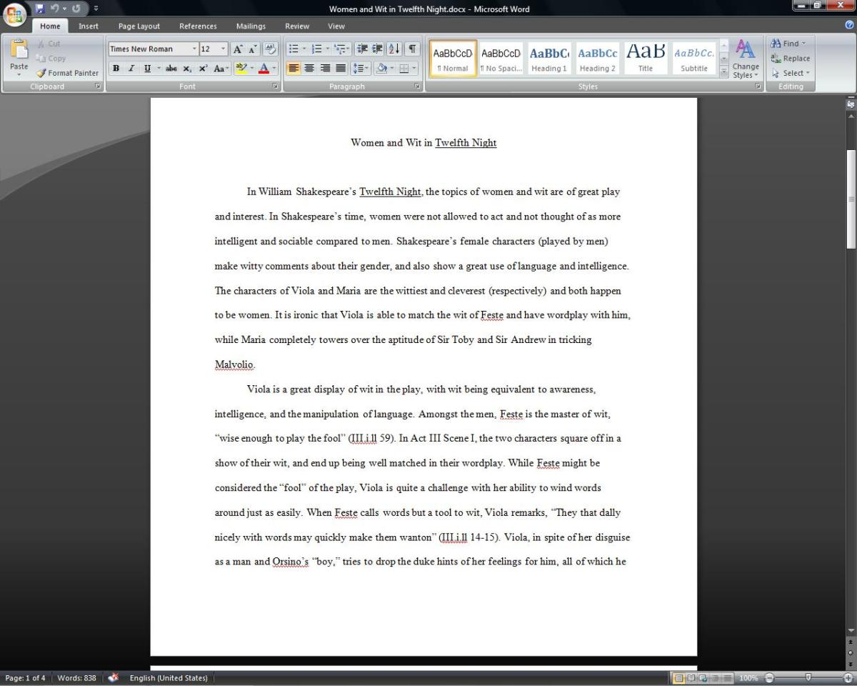Follow your teacher's guidelines to formatting your essay in Microsoft Word.