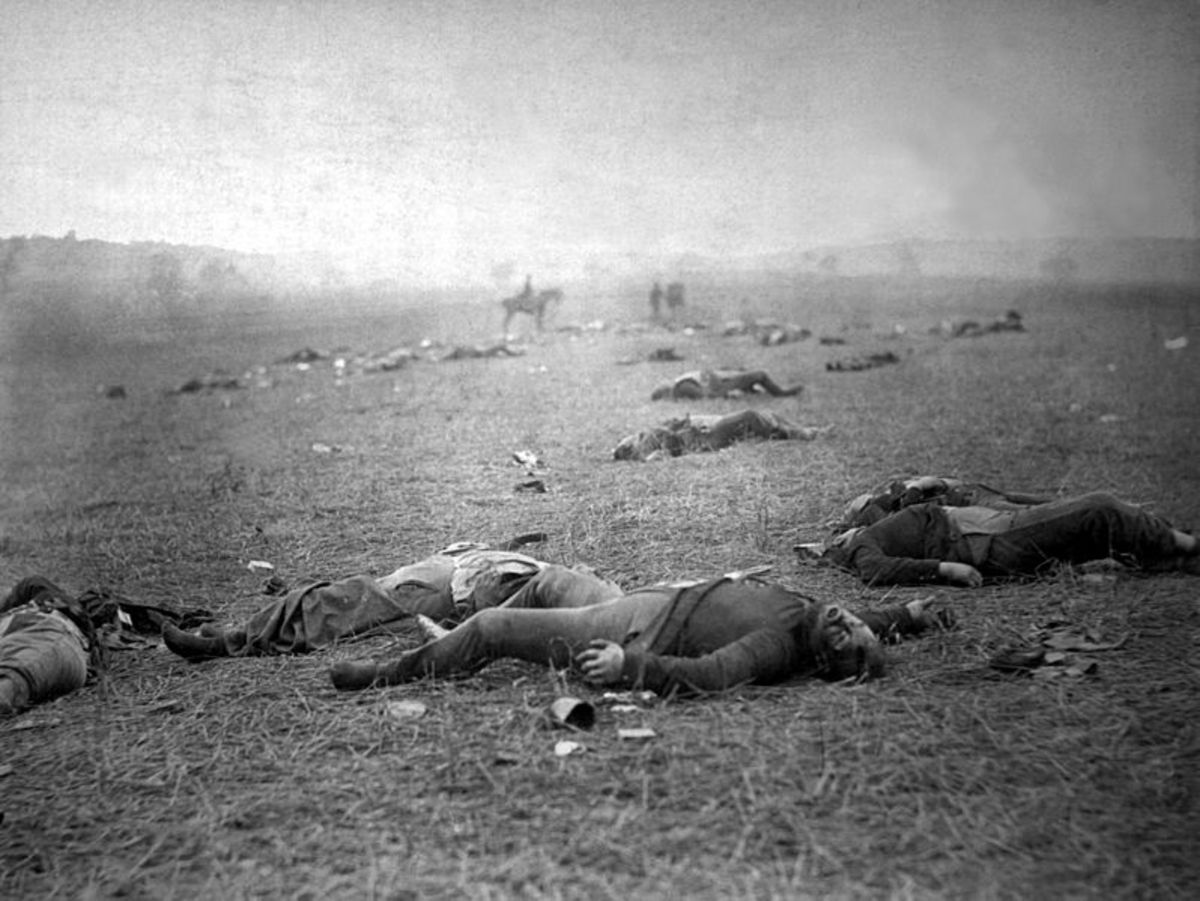 A very famous photograph showing dead Union soldiers in a meadow near the Peach Orchard. It was entitled the 'Harvest of Death' by its taker, Timothy H. O'Sullivan.