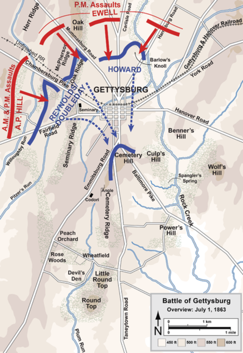 An overview of the first day of battle (1st July 1863). Once again, the Confederates are in red, whilst the Union are in blue.