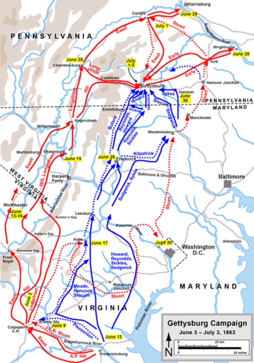 A map showing the progress of both forces in the Gettysburg campaign up to the 3rd July 1863. The Confederates are in red, and the Union in blue.