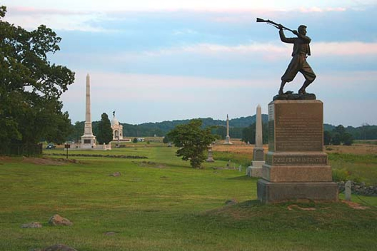 This is a monument known as the 'High Water Mark' which commemorates the actions of the 72nd Pennsylvania volunteer infantry at Cemetery Ridge.