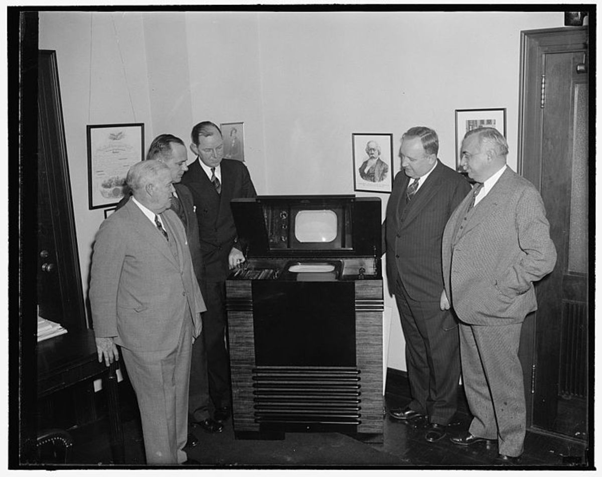 Commissioners in New York inspect the first 'light weight' television set suitable for domestic use in 1939. Seventy years on and I have a device in my pocket that I can watch TV on!