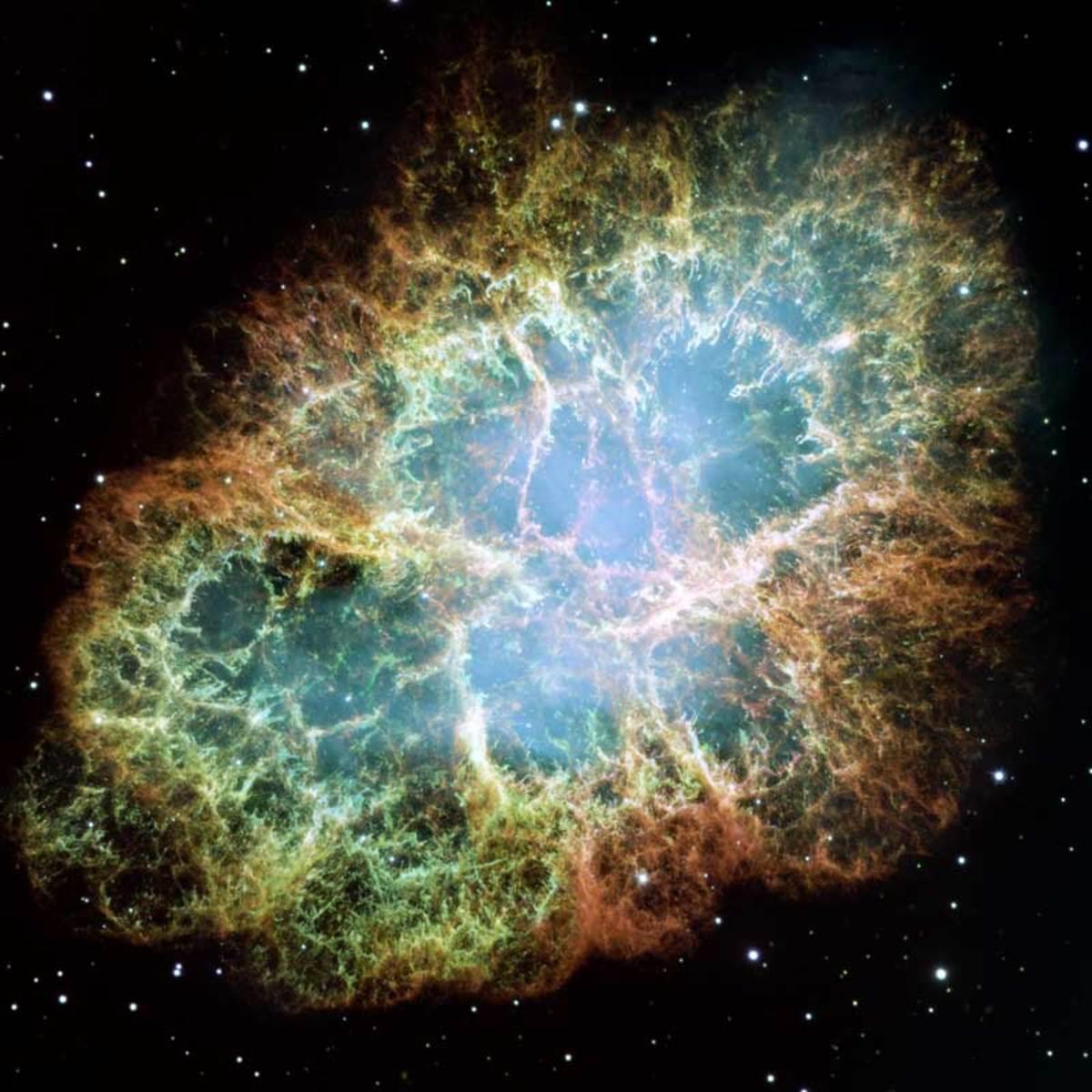 A supernova remnant (Crab Nebula).