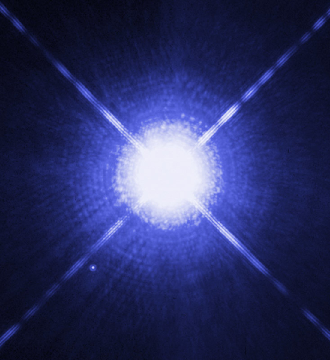 Can you see Sirius A's tiny white dwarf companion, Sirius B? (lower left)