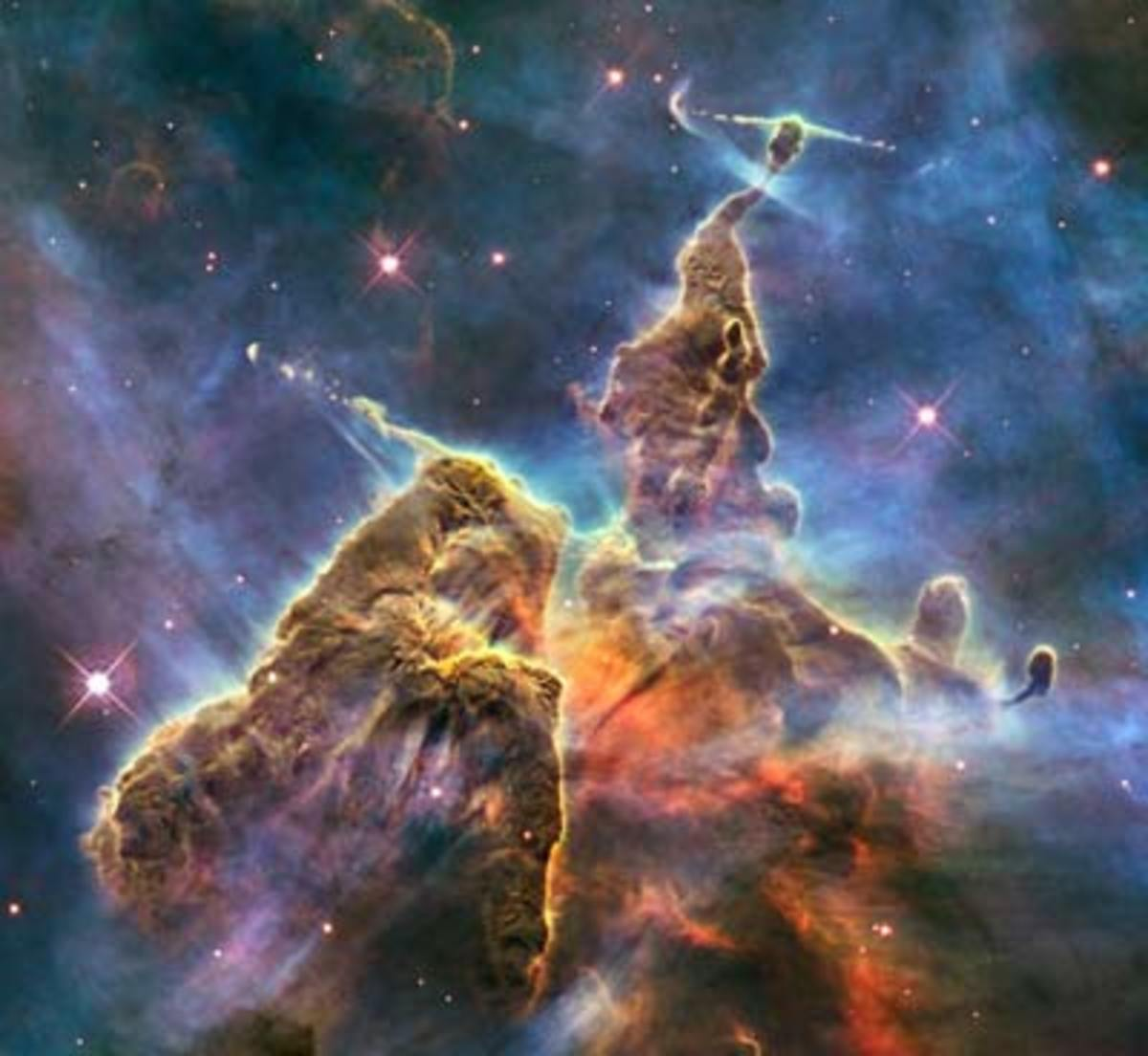 A region of the Carina Nebula, called Mystic Mountain, in which stars are being formed.