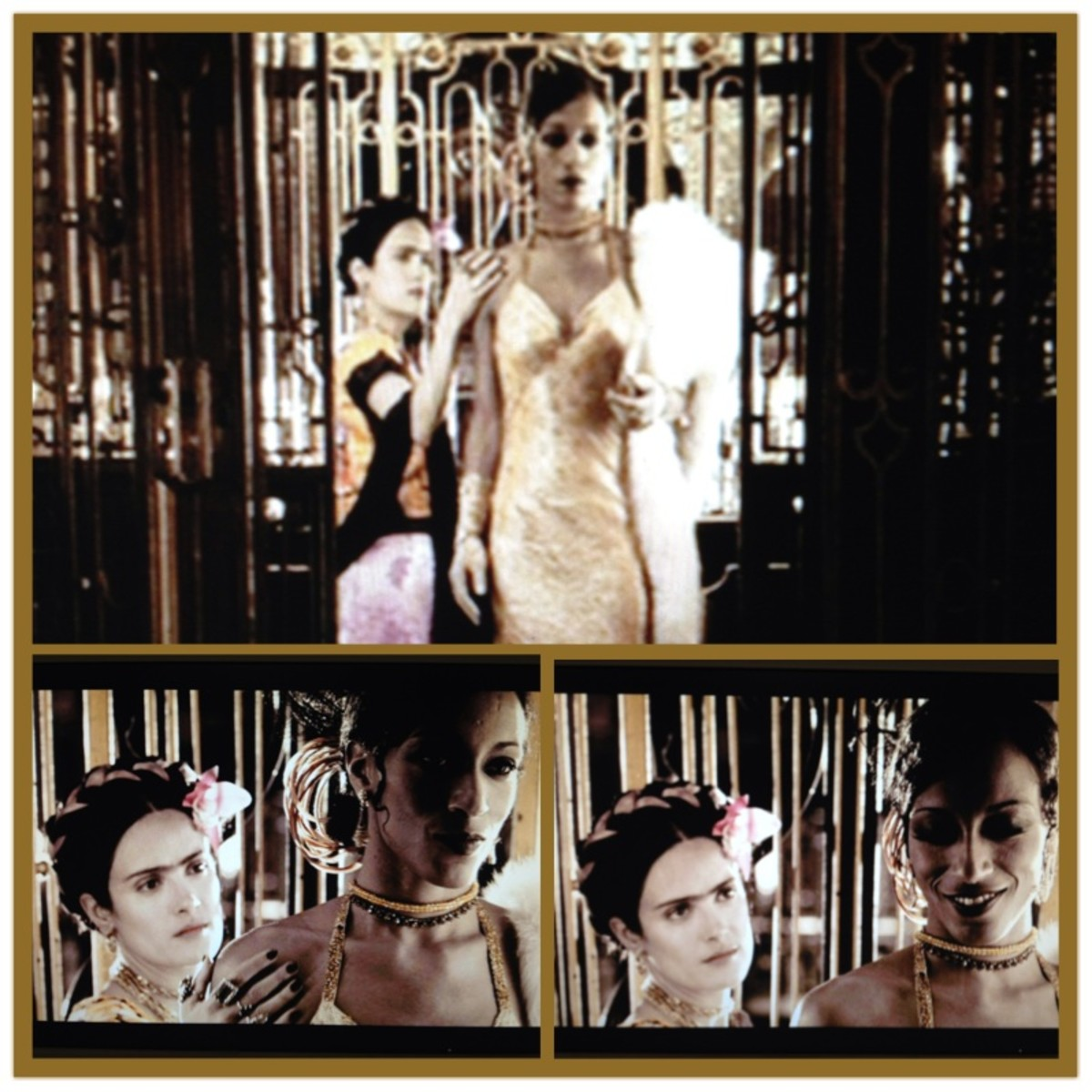 "Movie stills from ""Frida"" depicting the beginning of Frida Kahlo and Josephine Baker's affair. Frida Kahlo is played by Selma Hayek. Josephine Baker is played by Karine Plantadit-Bageot"