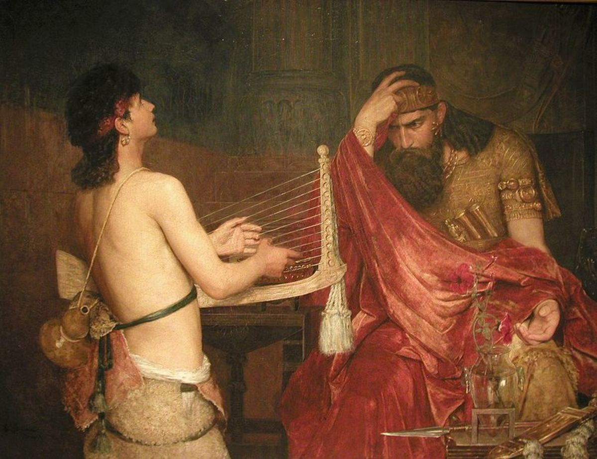 Painting of David playing for King Saul  --both listed among the good looking in the Bible.  Artist: Ernst Johnson (1851-1906)