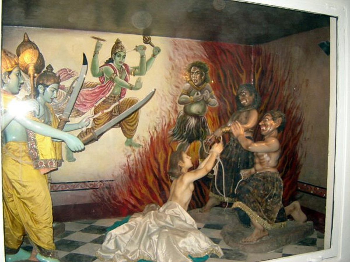 The depiction of the story of Ajamila where the messengers of Lord Vishnu arrive and save him from the messengers of the God of Death.