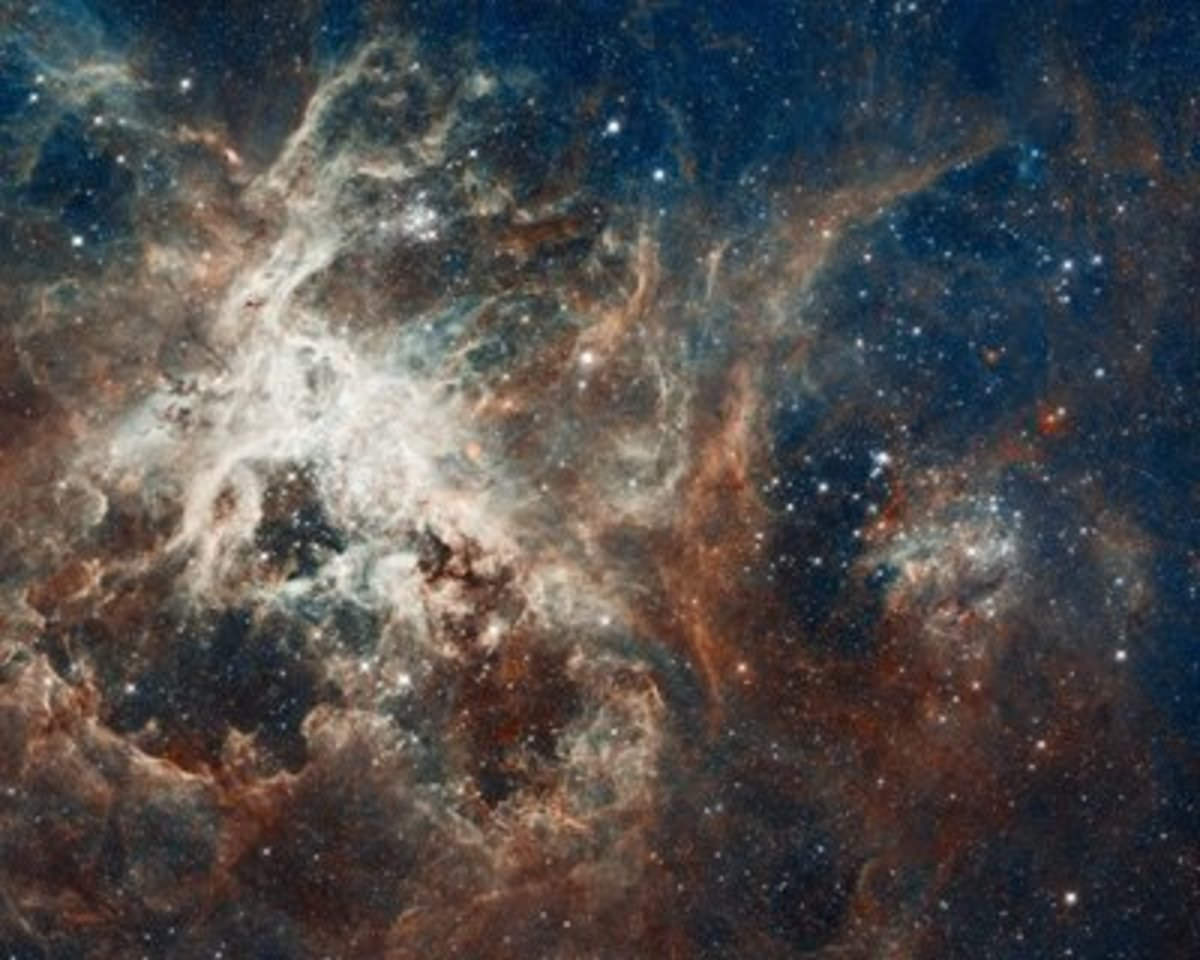 Protostars pull in nebulous gasses, but mature stars carve out regions of empty space by emitting powerful radiation.