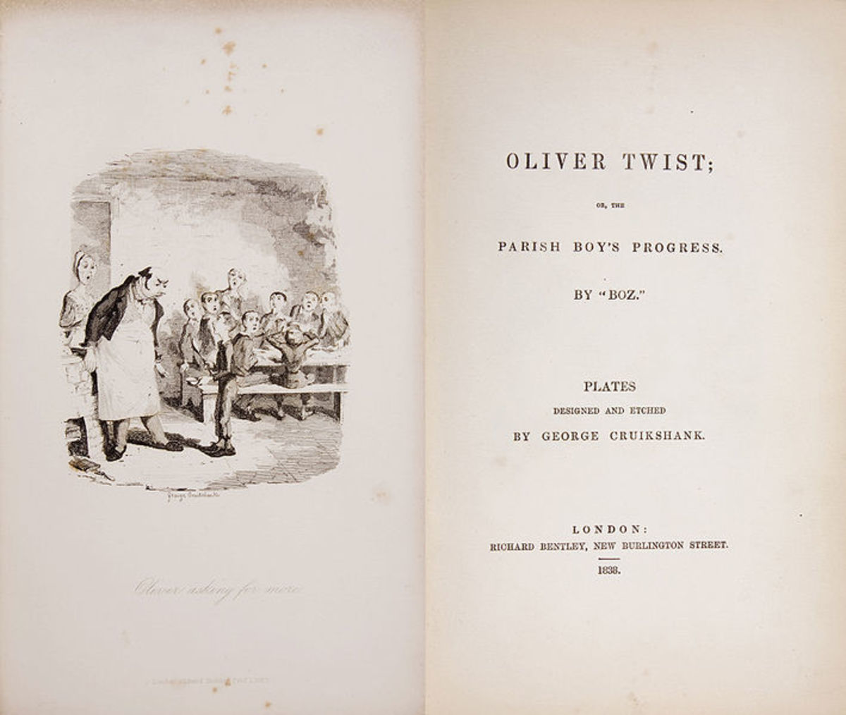 The first edition of Charles Dickens' Oliver Twist.