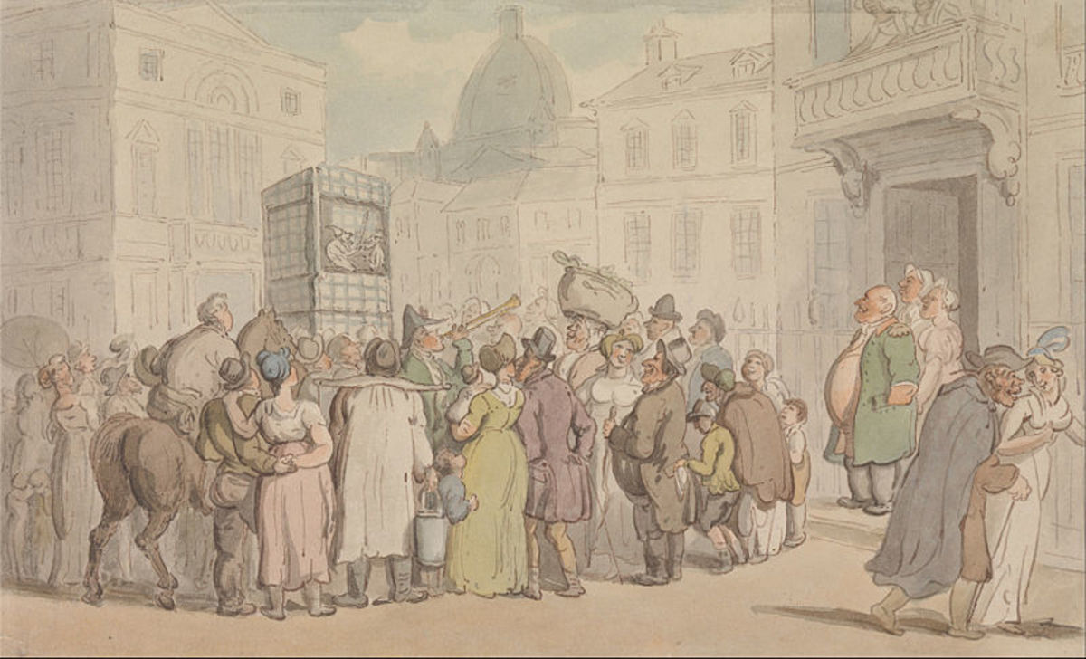 In this illustration by Thomas Rowlandson (1827) a crowd gathers to watch a 'Punch and Judy Show.'  If you look carefully, you might find a child pickpocket busy at work while the crowd are distracted. Can you see him?