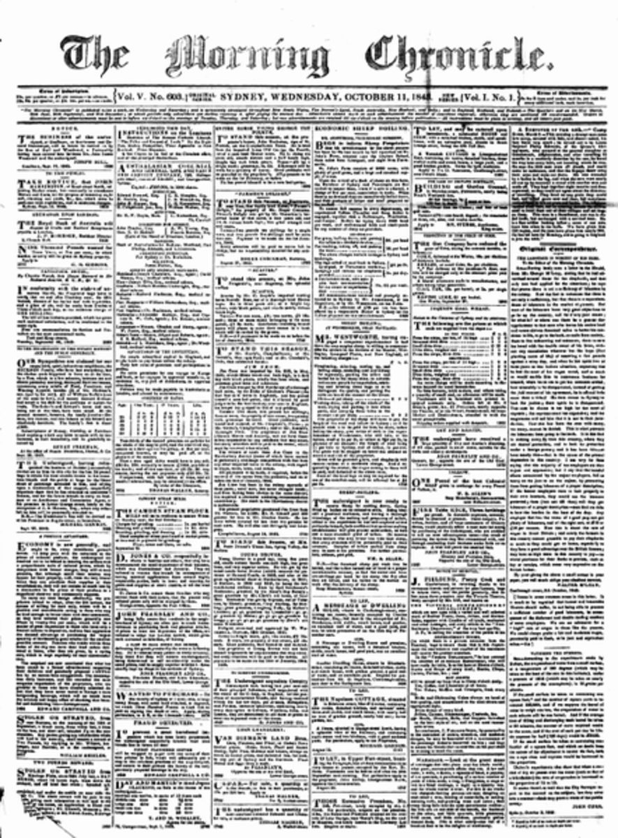 The front page of a copy of The Morning Chronicle, one of the newspapers for which the young Charles Dickens worked as a reporter.