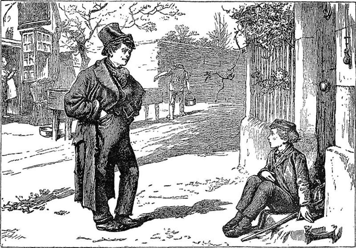 Oliver Twist meets the Artful Dodger on the streets of London. An illustration by James Mahoney (1810 - 1879)