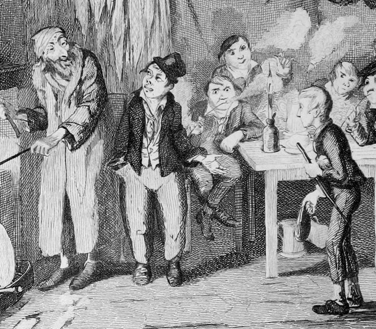 From an illustration by Cruikshank, Charles Dickens' most renowned illustrator. The fate of Oliver Twist was a common one in which guttersnipes and orphans fell into bad company.