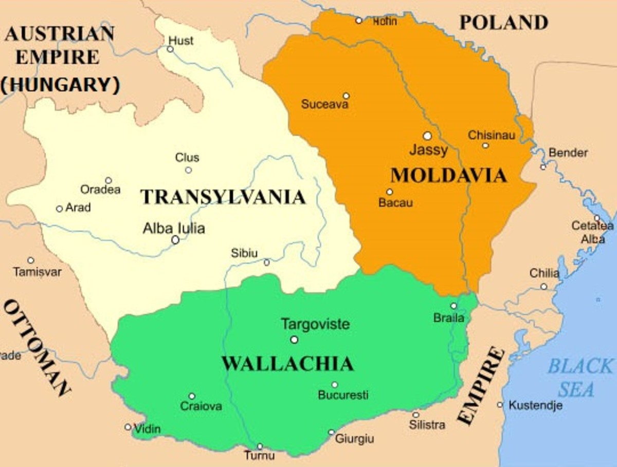 A map of Wallachia (green). The colored regions now form Romania.