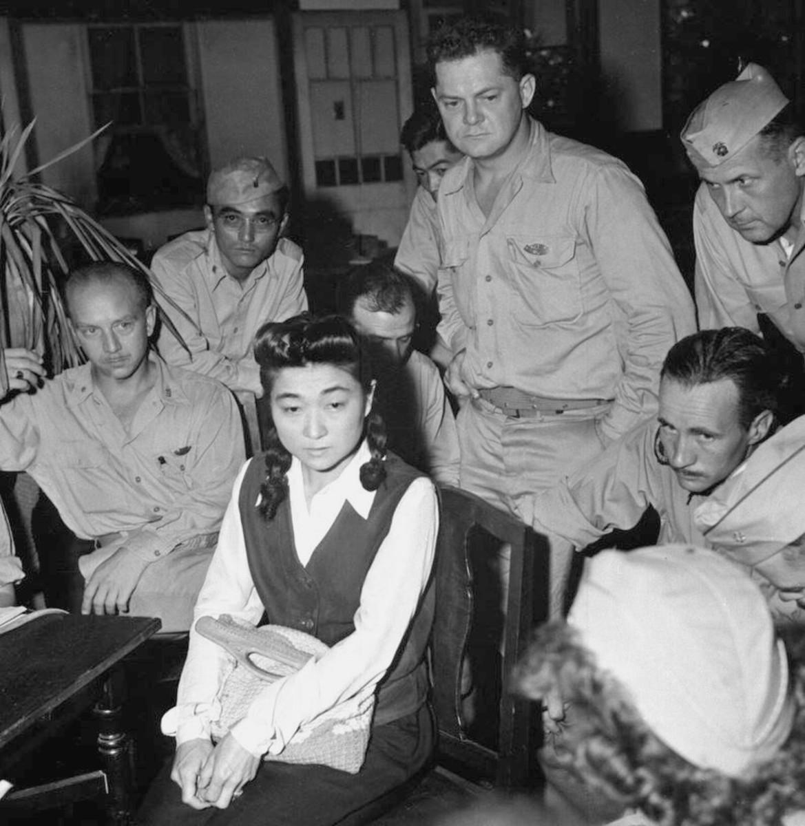 "Correspondents interview ""Tokyo Rose"" Iva Toguri, September, 1945"