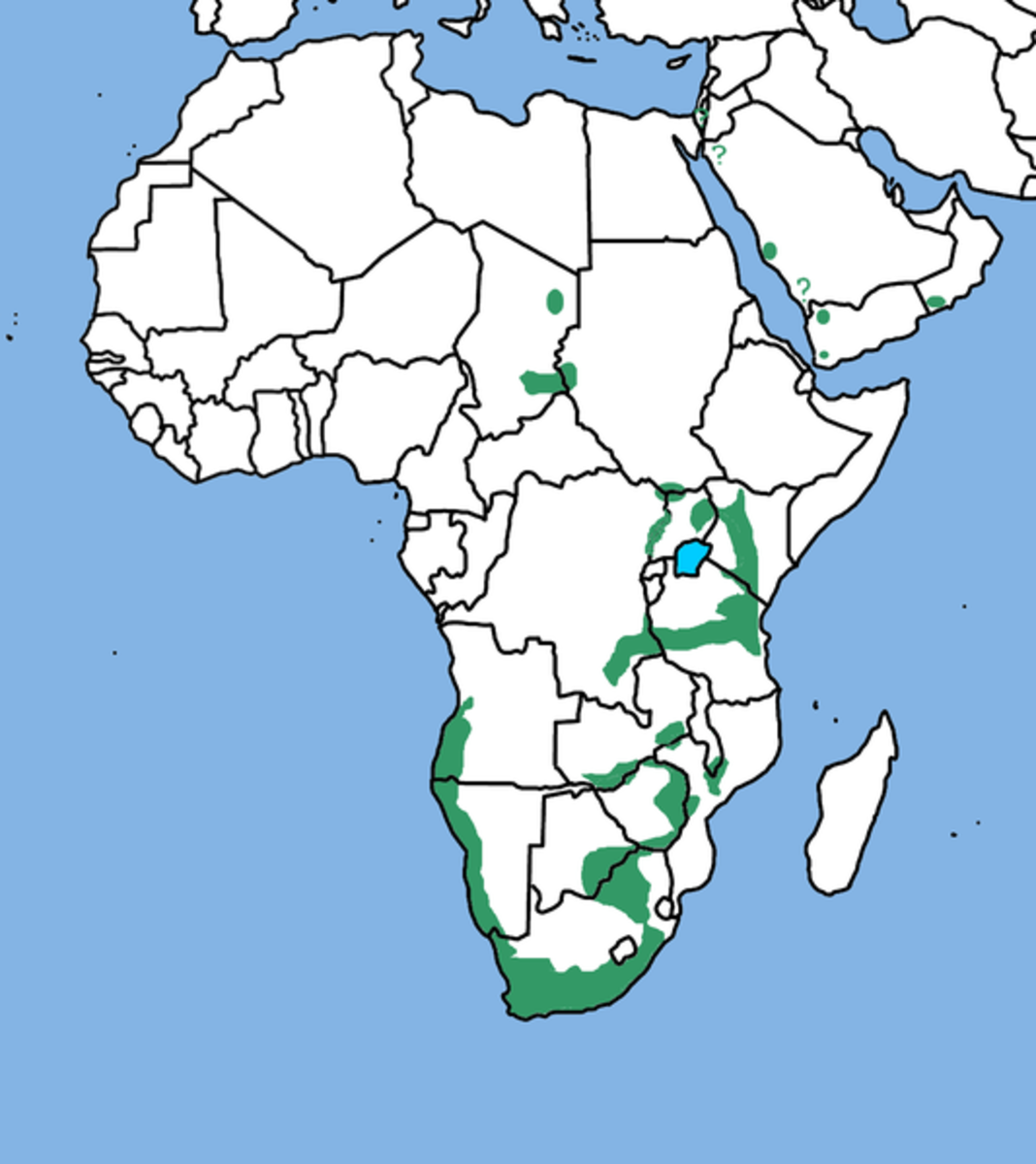 Range of Verreaux's Eagle in green