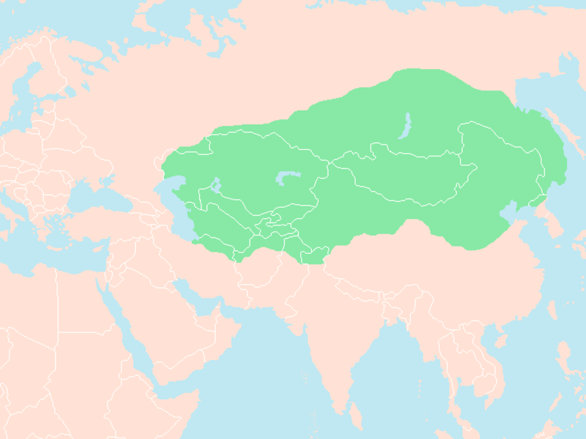 The approximate size of Genghis Khan's empire at the time of his death.
