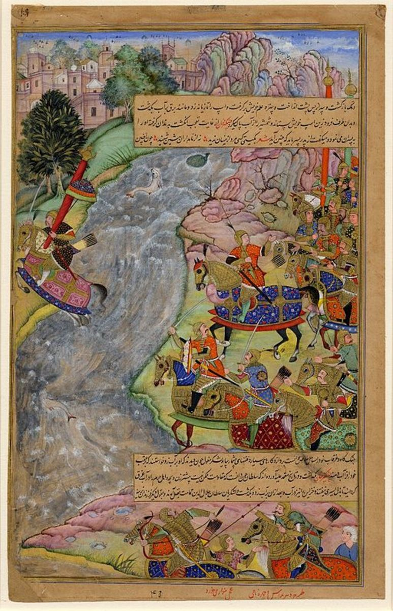 A painting of the Shah of Persia fleeing across the Indus river from Khan.