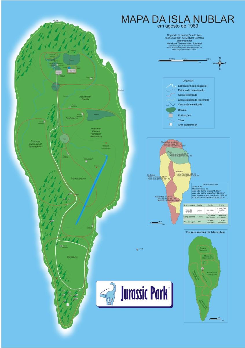 Map of Jurassic Park.  Michael Crichton's novelistic scare.
