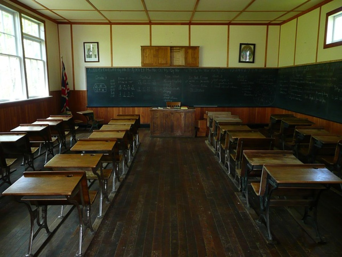 A traditional one room school, grades one through eight.