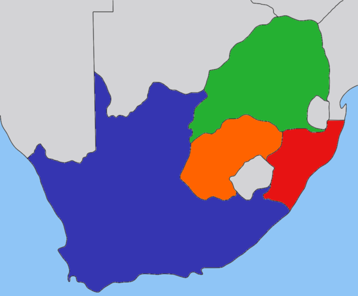 Green area= South African Republic/Transvaal, Orange area= Orange Free State, Blue area= British Cape Colony, Red area= Natal.