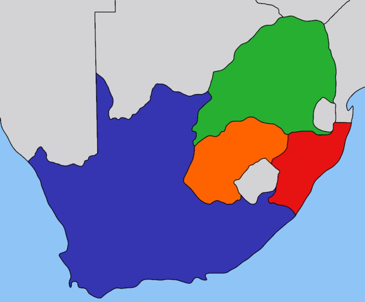 Green area= South African Republic/Transvaal, Orange area= Orange Free State, Blue area= British Cape Colony, Red area= Natal.