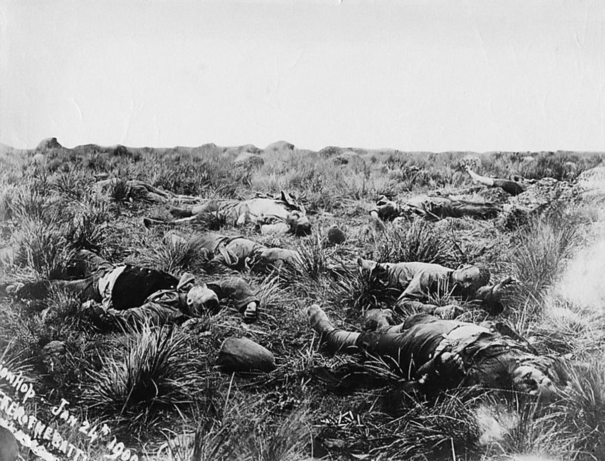 A photograph showing British dead at Spion Kop.