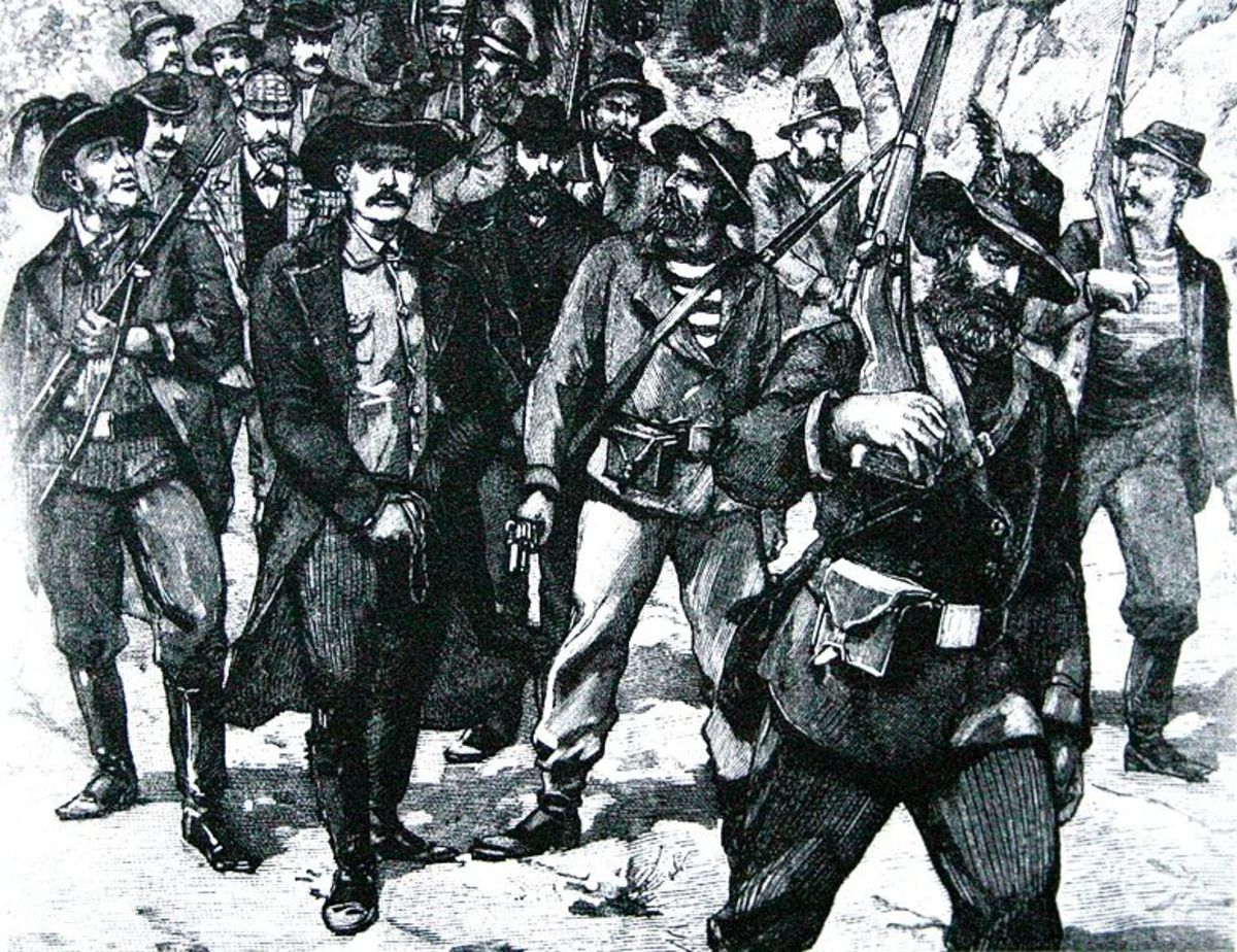A sketch depicting the arrest of Leander Starr Jameson after the failure of the raid.