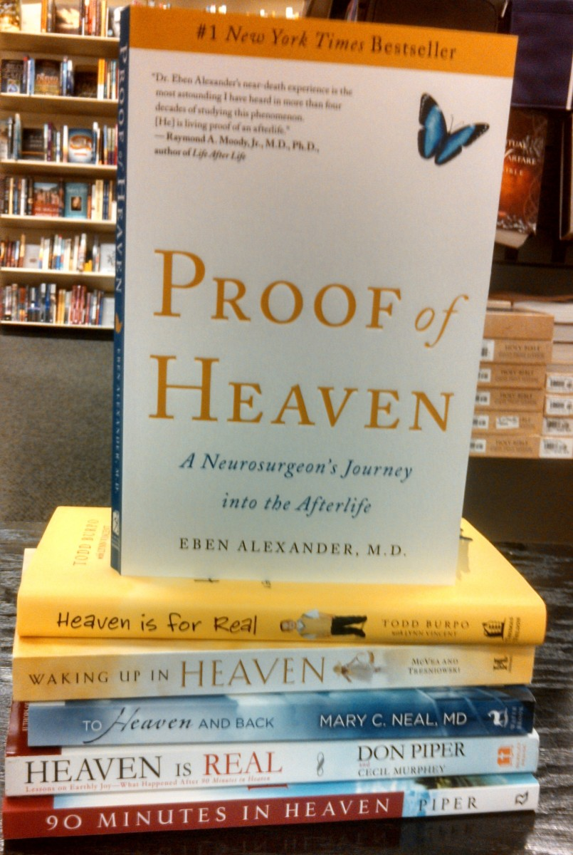 A  sample of books on NDEs seen at a bookstore. Many claim that NDEs provide proof of a supernatural heaven.  They don't but do provide evidence of a natural one.
