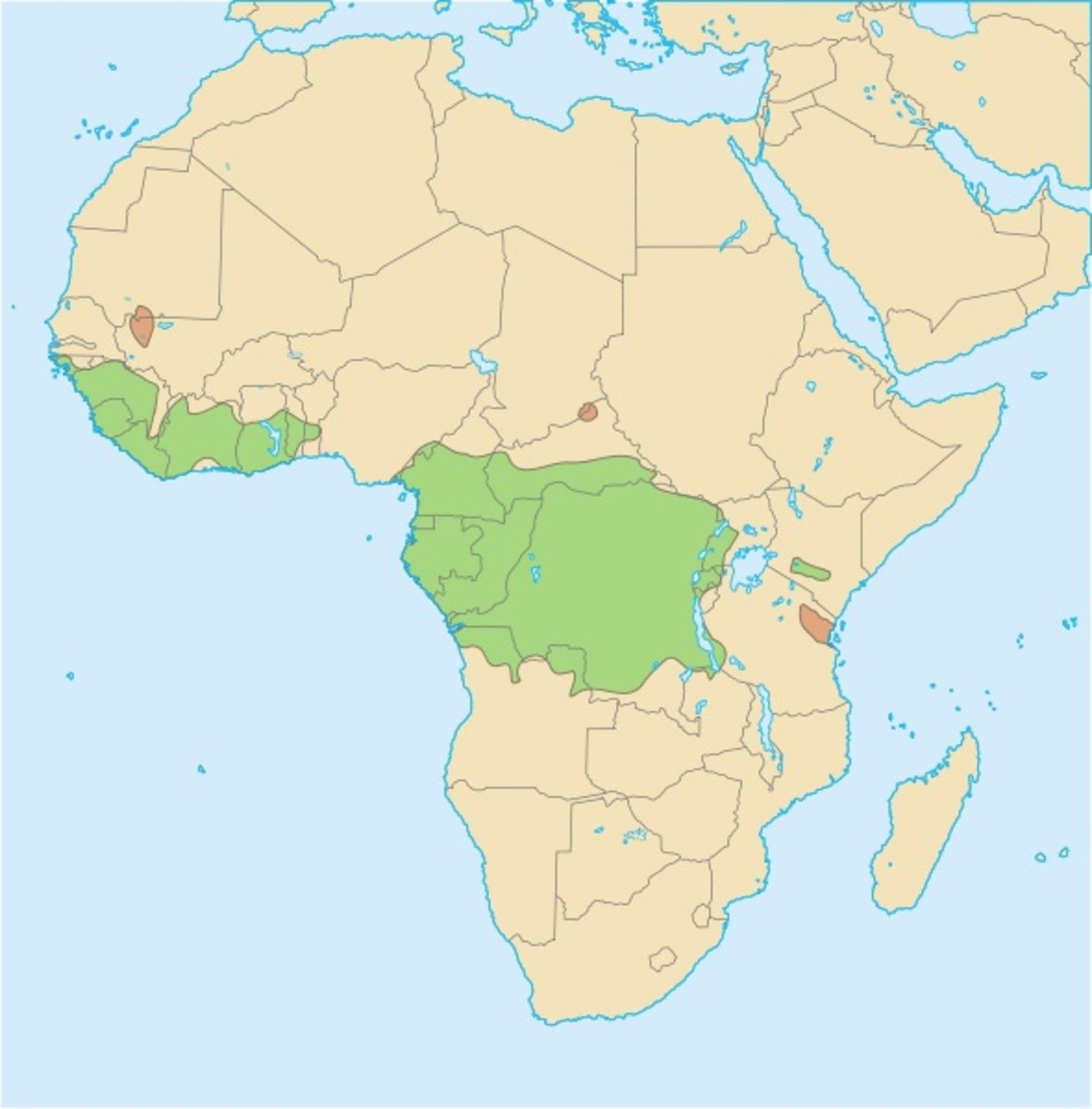 Distribution of the African golden cat