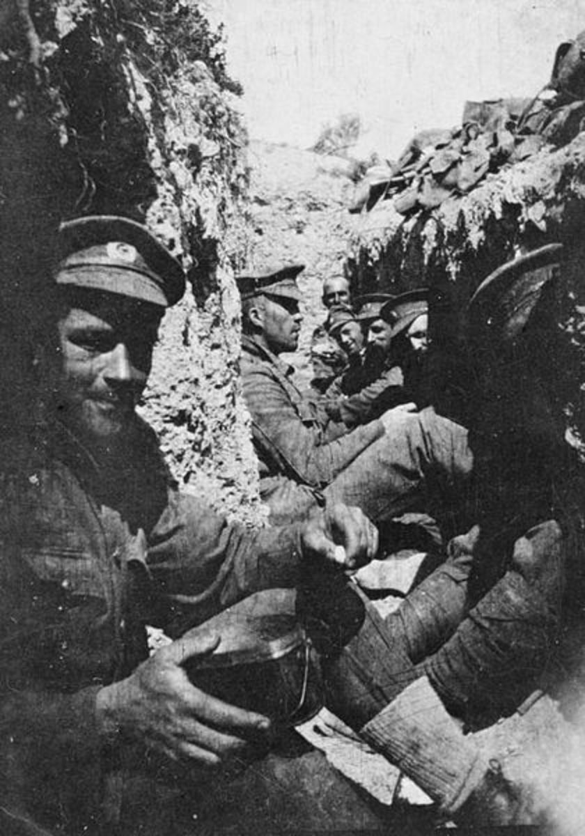 Soldiers in a trench.