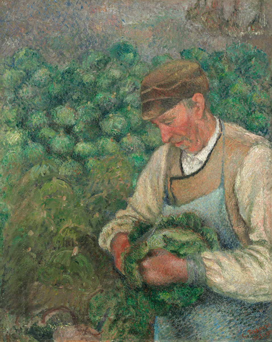 """The Gardener--Old Peasant With Cabbage"", 1883-1895, Oil on Canvas. This is my favorite painting by Camille Pissarro."