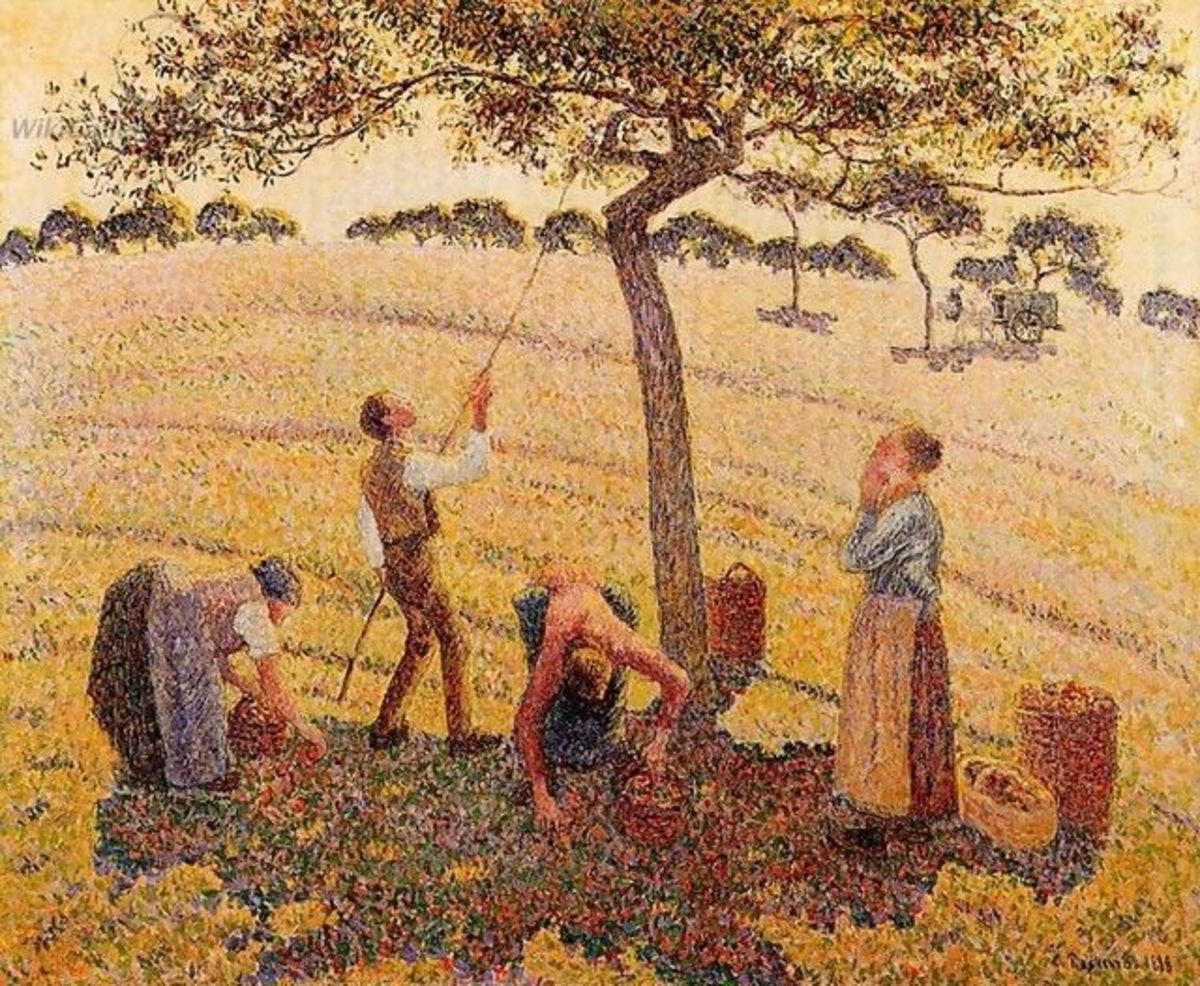 """Apple Harvest"" by Camille Pissarro, 1888. Oil on Canvas. Can you spot the influence of Pissarro's anarchist beliefs in this painting?"