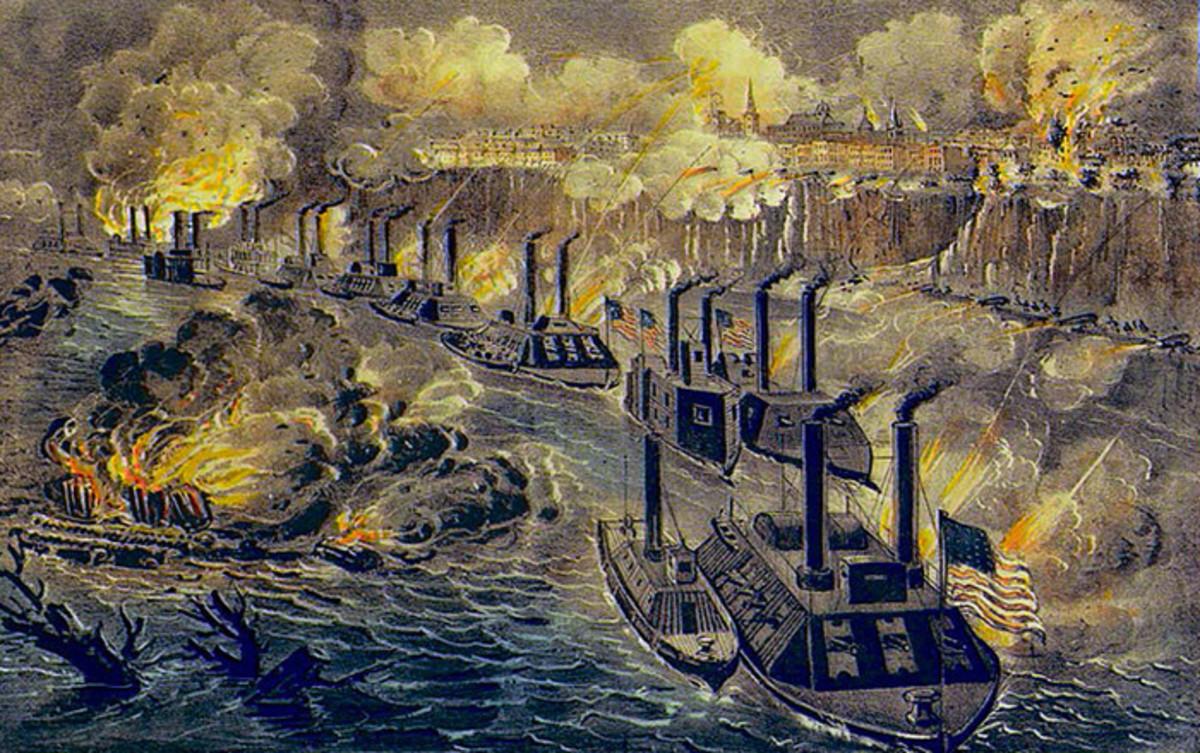 Admiral Porter's Fleet Running the Rebel Blockade of the Mississippi at Vicksburg, April 16th 1863
